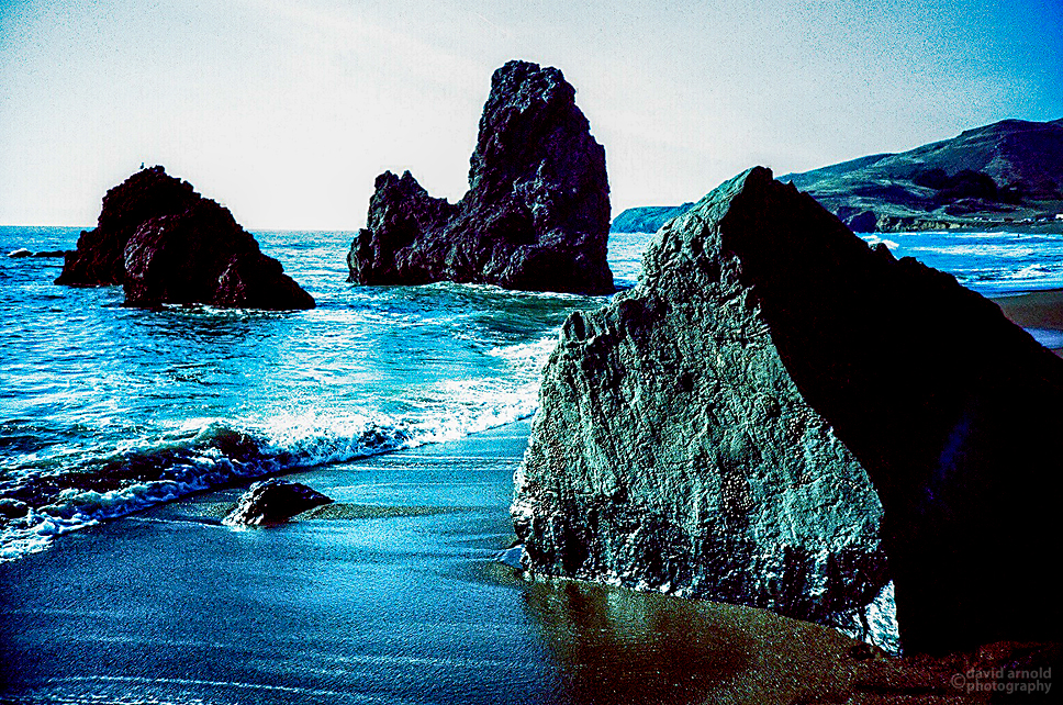Rodeo Beach, Marin Headlands, Golden Gate NRA. (Kodak Ektachrome 200 film, process C-41)