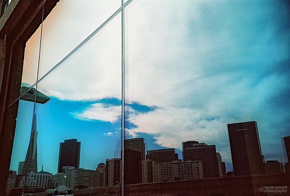 Reflection, Embarcadero, San Francisco. (Kodak EliteChrome EB film, process C-41)