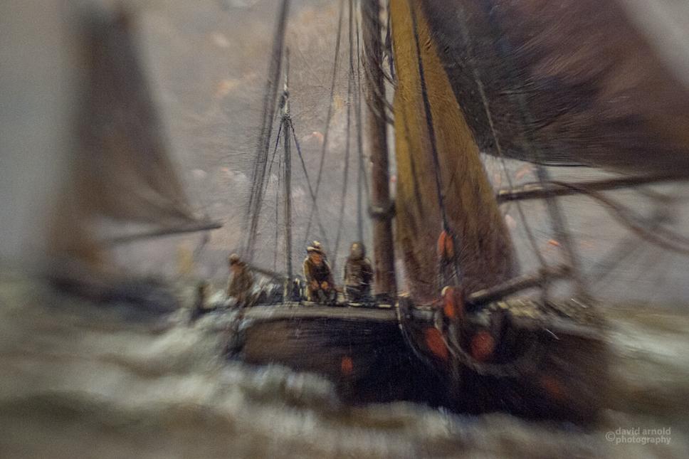 Borrowed Source: Fishing Boat Detai, Hendrick Willem Mesdag, (1831-1915, Dutch), Marine Scene with Fishing Boats on a Calm Sea, 19th Century, Crocker Art Museum