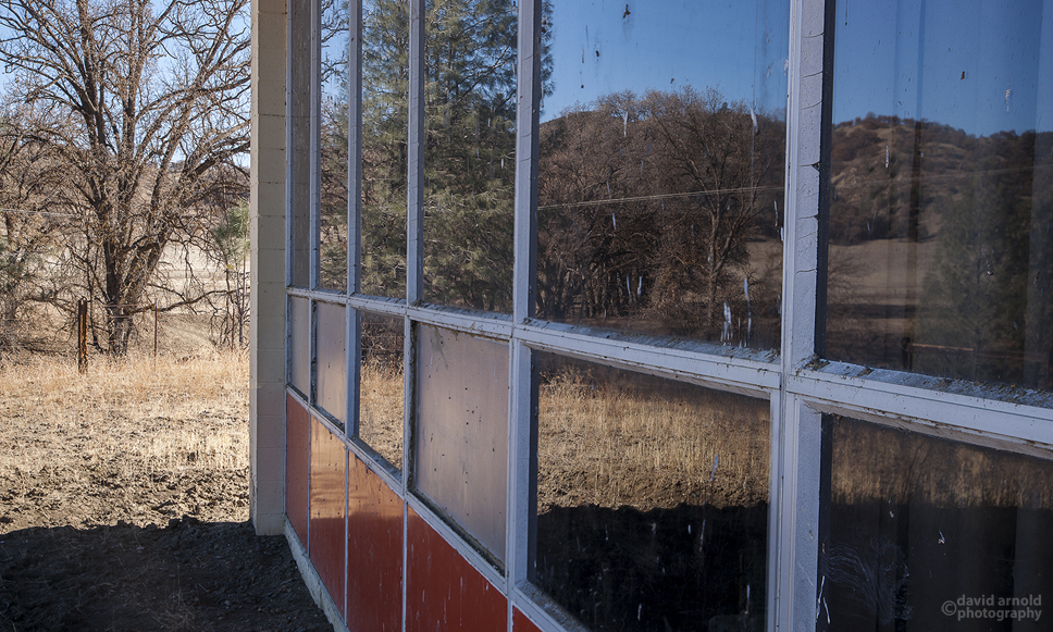 Exterior Window and Reflections, Priest Valley School, Priest Valley, California