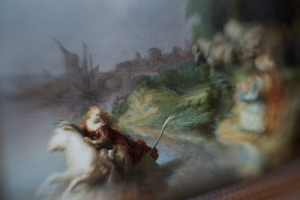 Borrowed Source: Water and Village Detail, Rembrandt Harmensz van Rijn, (Dutch, 1601-1669), The Abduction of Europa, 1632, J. Paul Getty Museum.
