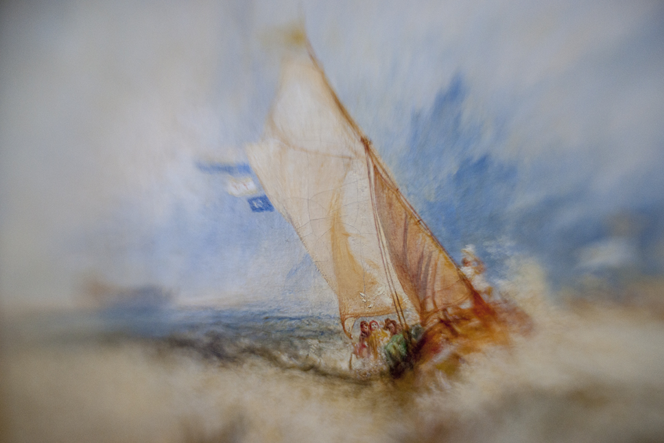 Borrowed Source: Sailboat Detail, Joseph Mallord William Turner, English, 1775-1851), Van Tromp, Going About to Please His Masters, 1839, Getty Museum.