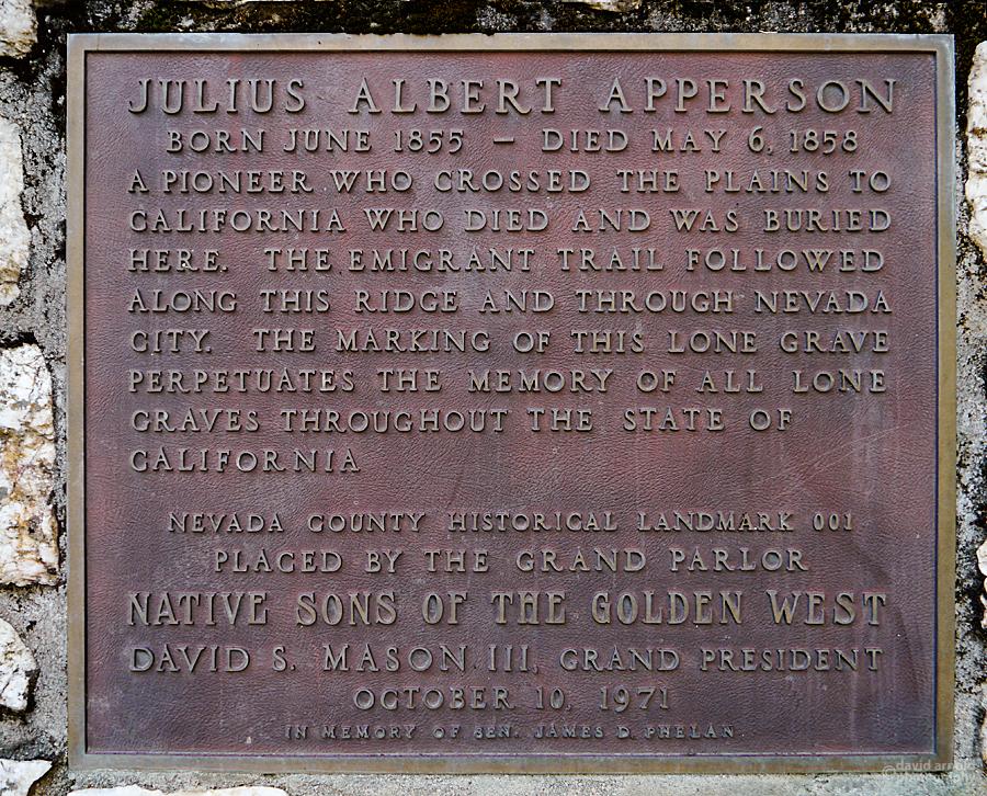 Plaque at the burial site of Julius Albert Apperson