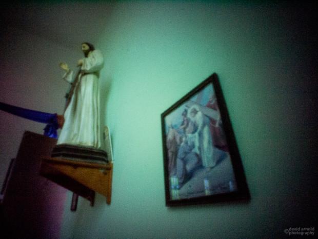 Statue and Print, Church at La Purisma