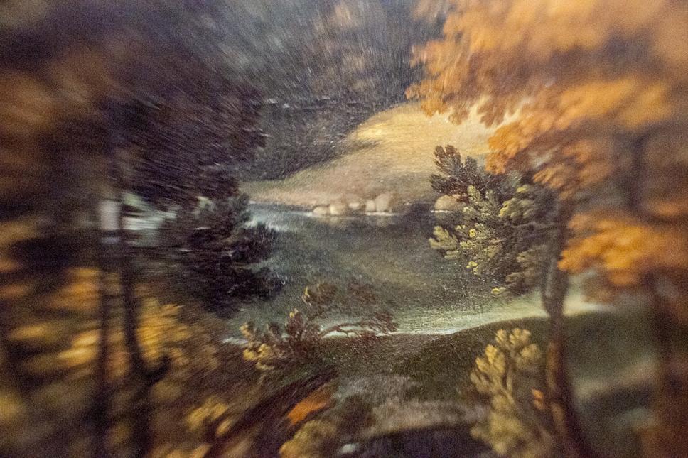 Borrowed Source: Trees and Lake Detail, Giovanni Francesco Grimaldi, (Italian, 1606-1680), Landscape with Venus and Cupid, 1651, Legion of Honor Museum.