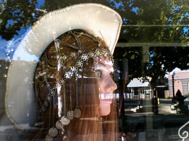 Cowgirl Reflection, Plumas Street, Marysville, California