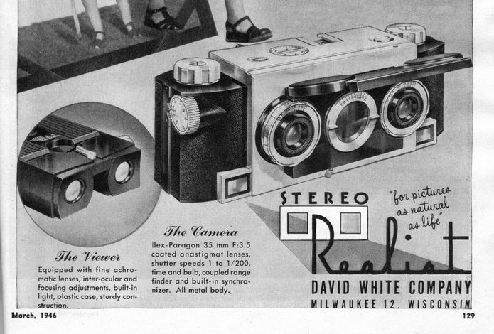Stereo Realist Camera and Viewer, Popular Photography Ad, 1946 (detail)