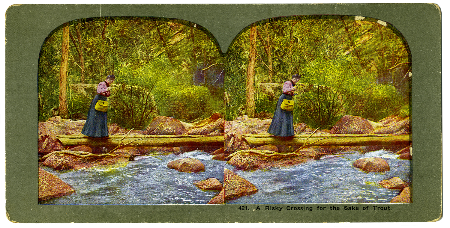 """""""A Risky Crossing for the Sake of Trout,"""" T. W. Ingersoll Stereo Card Collection, 1898"""