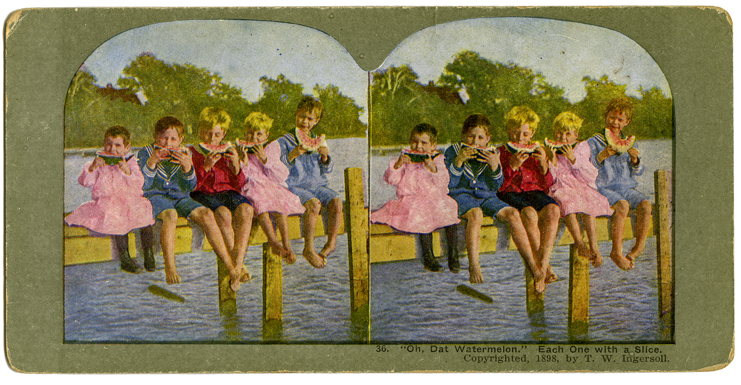"""""""O Dat Watermelon, Each One With A Slice,"""" T. W. Ingersoll Stereo Card Collection, 1898"""