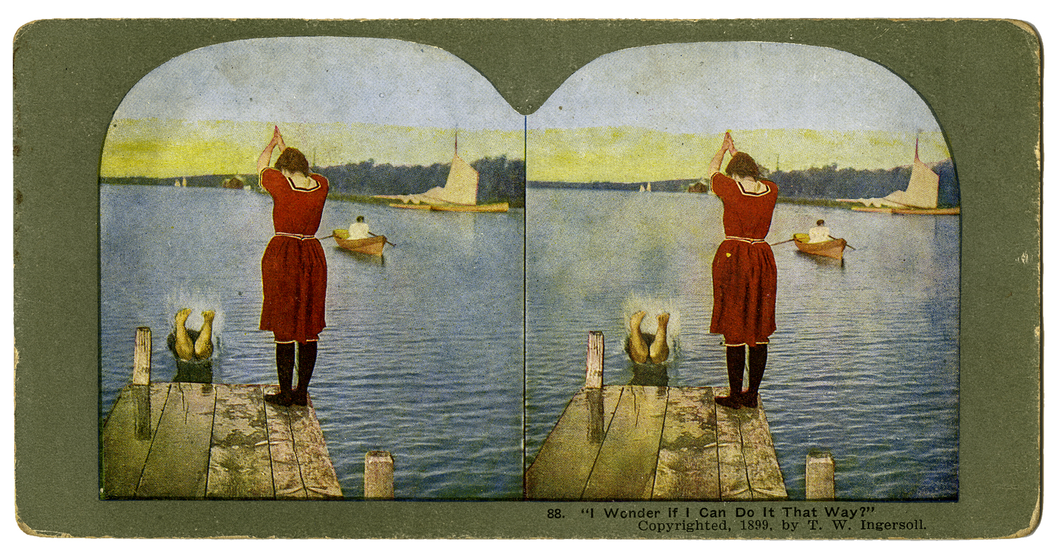 """""""I Wonder If I Can Do It That Way!"""" T. W. Ingersoll Stereo Card Collection, 1898"""