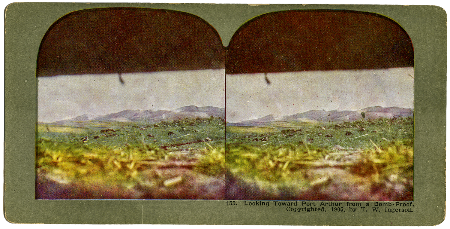 """""""Looking Toward Port Arthur From a Bomb-Proof,"""" T. W. Ingersoll Stereo Card Collection, 1905"""