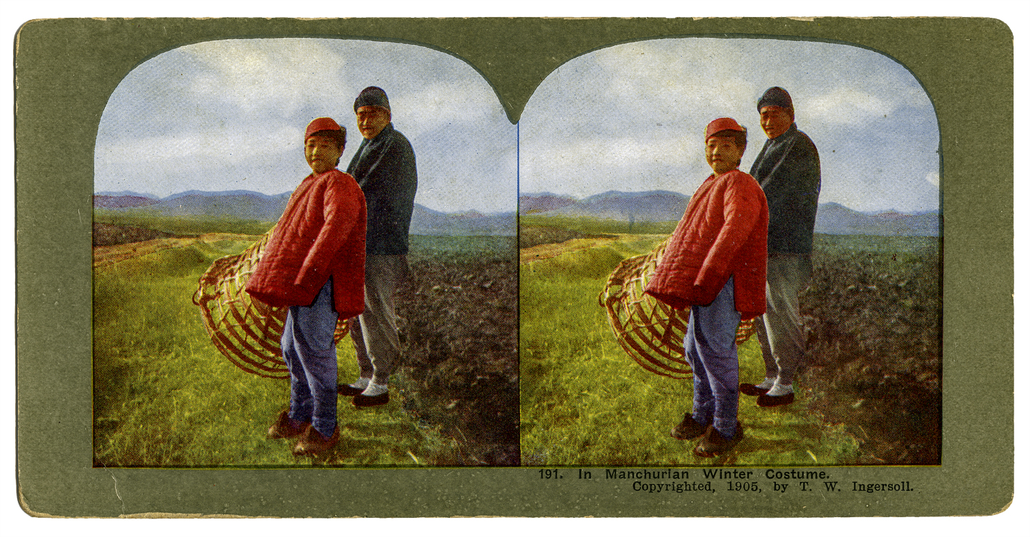 """""""In Manchuria, Winter Costume,"""" T. W. Ingersoll Stereo Card Collection, 1905"""