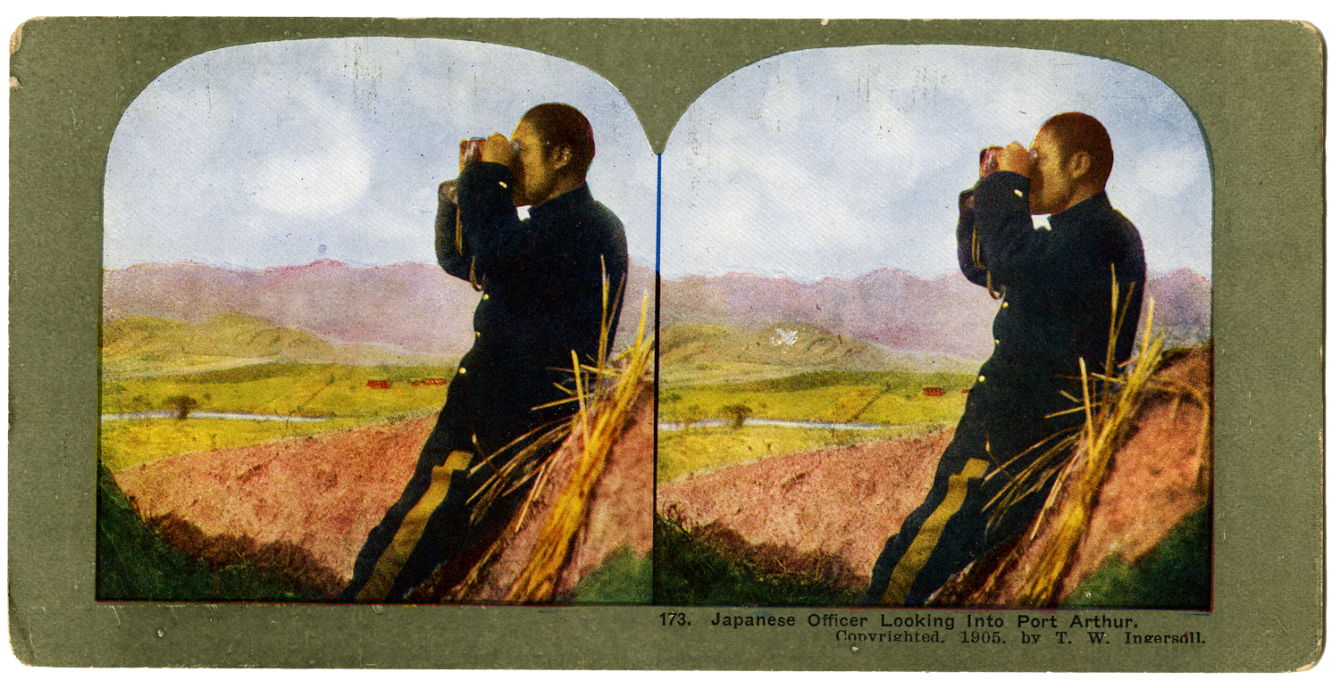 """""""Japanese Officer Looking Into Port Arthur, T. W. Ingersoll Stereo Card Collection, 1905"""