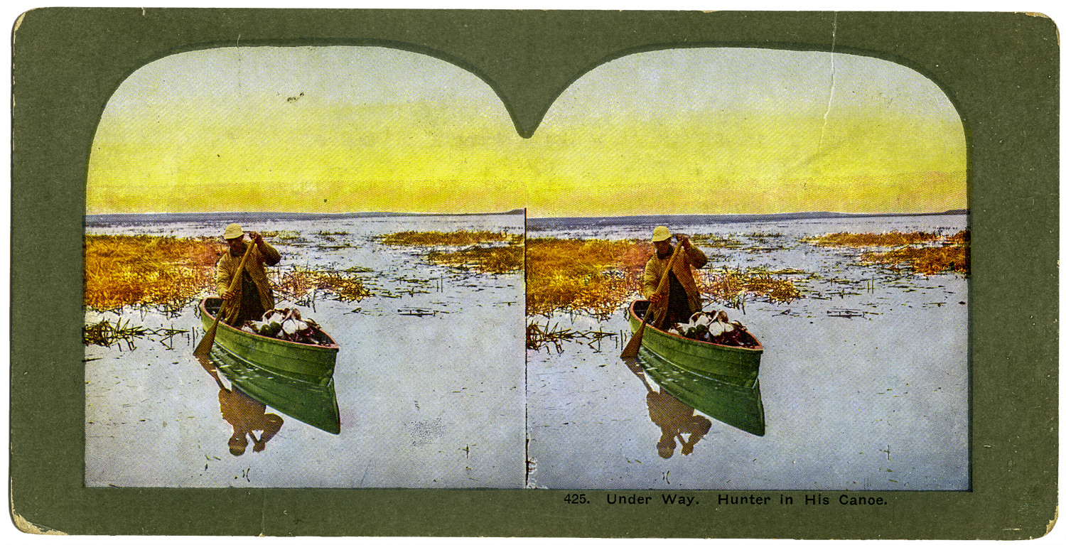 """Underway, Hunter in his Canoe,"""" T. W. Ingersoll Stereo Card Collection, 1898"""