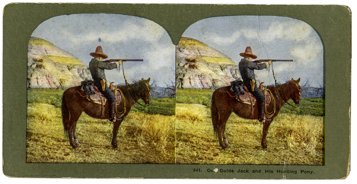 """""""Our Guide Jack and His Hunting Party,"""" T. W. Ingersoll Stereo Card Collection, 1898"""