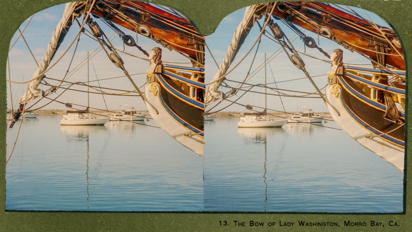 Stereocard. Sailboat. Morro Bay