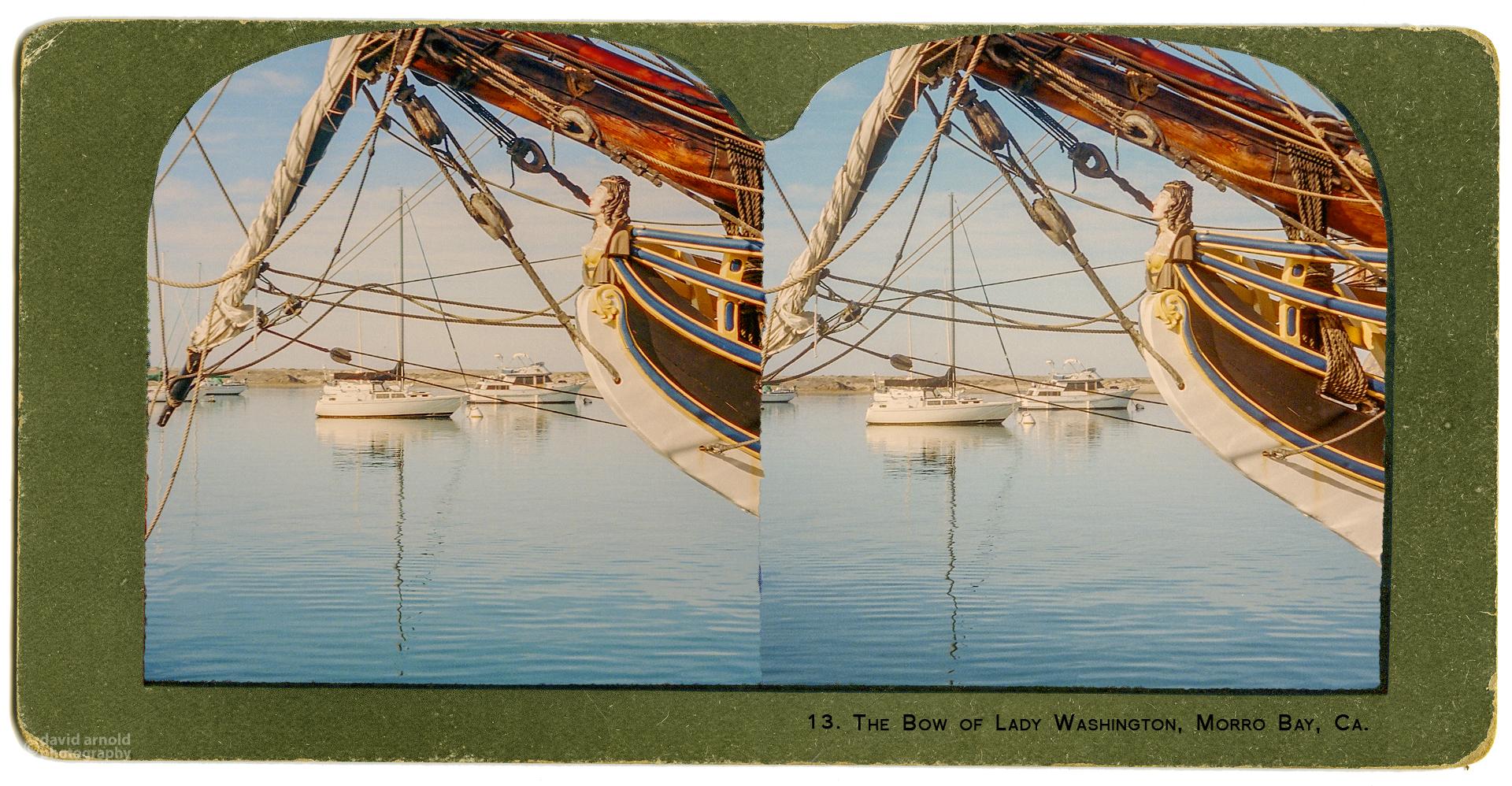 The Bow of Lady Washington, Morro Bay, CA. (Stereo Realist 35mm camera with Kodak Portra 400 Film