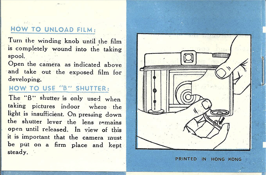 Page from the Diana F instructions manual: loading film into the Diana camera.