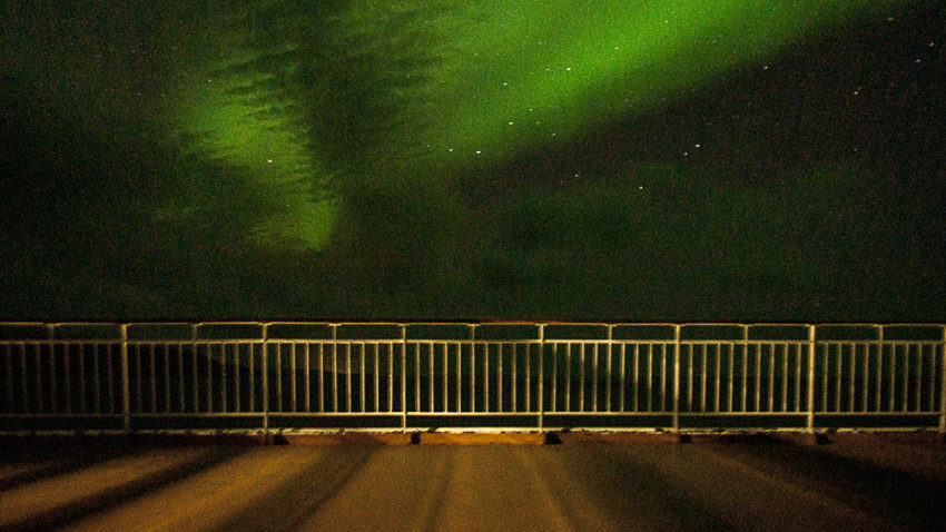 Ferry Railing, Northern Lights