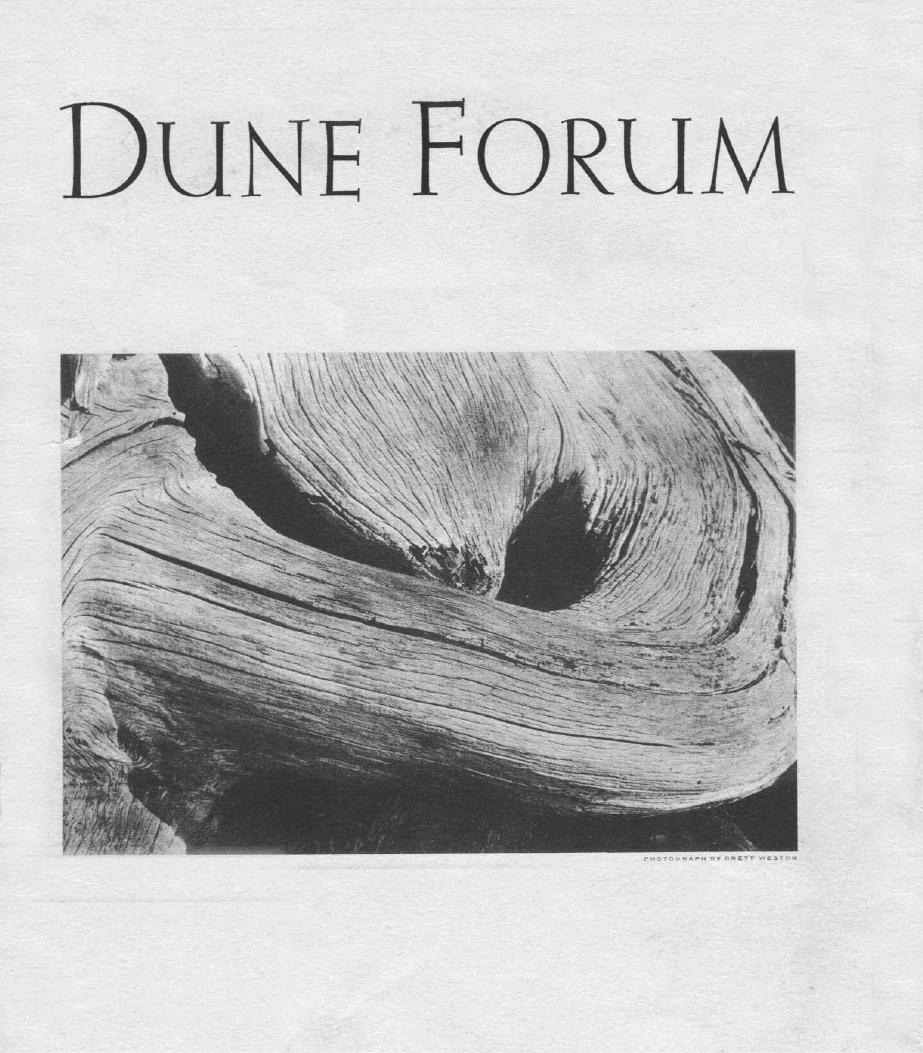Driftwood, Dune Forum Cover, Brett Weston