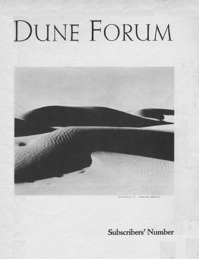 Sand dunes, Dune Forum Cover by Chandler Weston