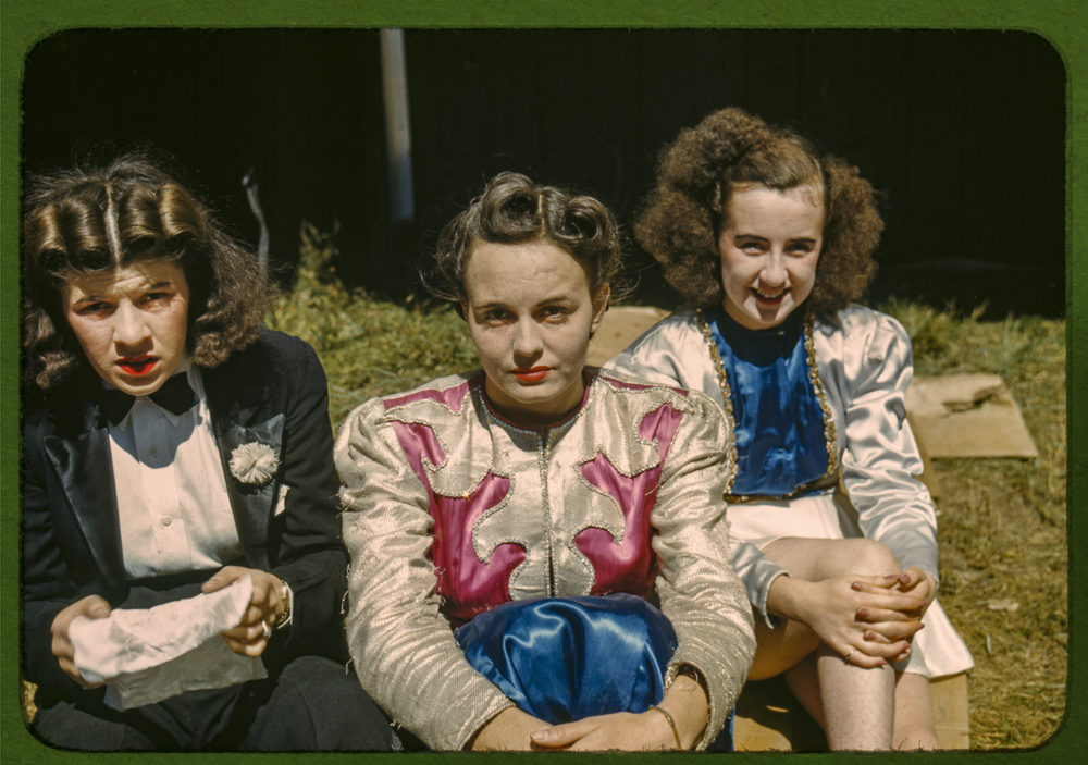 """""""Backstage"""" at the """"girlie"""" show at the Vermont state fair, Rutland."""