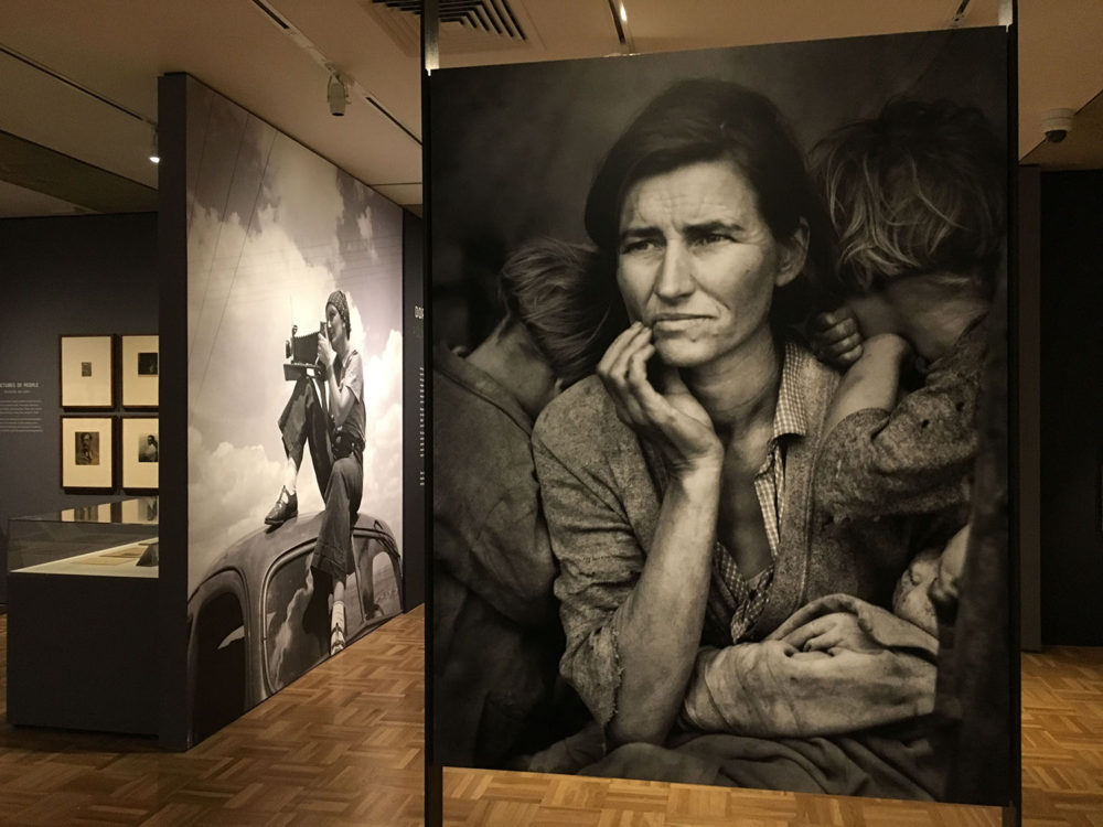Migrant Mother Display, Dorothea Lange: Politics of Seeing Exhibition, Oakland Museum, Oakland California.