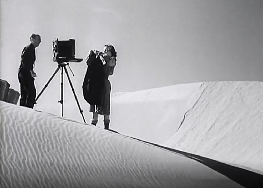 Man and woman stand next to a large format camera on a tripod.