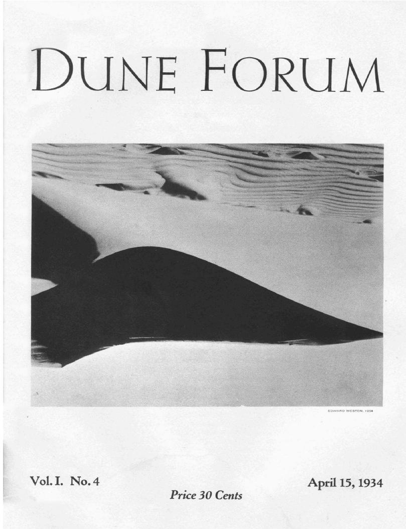 Edward Weston Dune Forum Cover of sand dunes