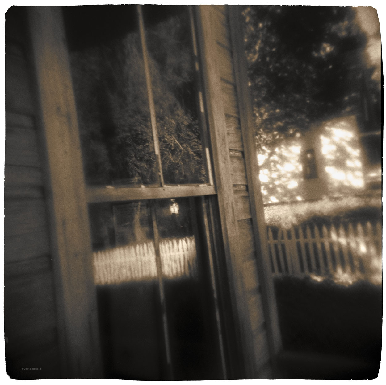 Window, Picket Fence and Reflection, North Bloomfield, Nevada County, California.