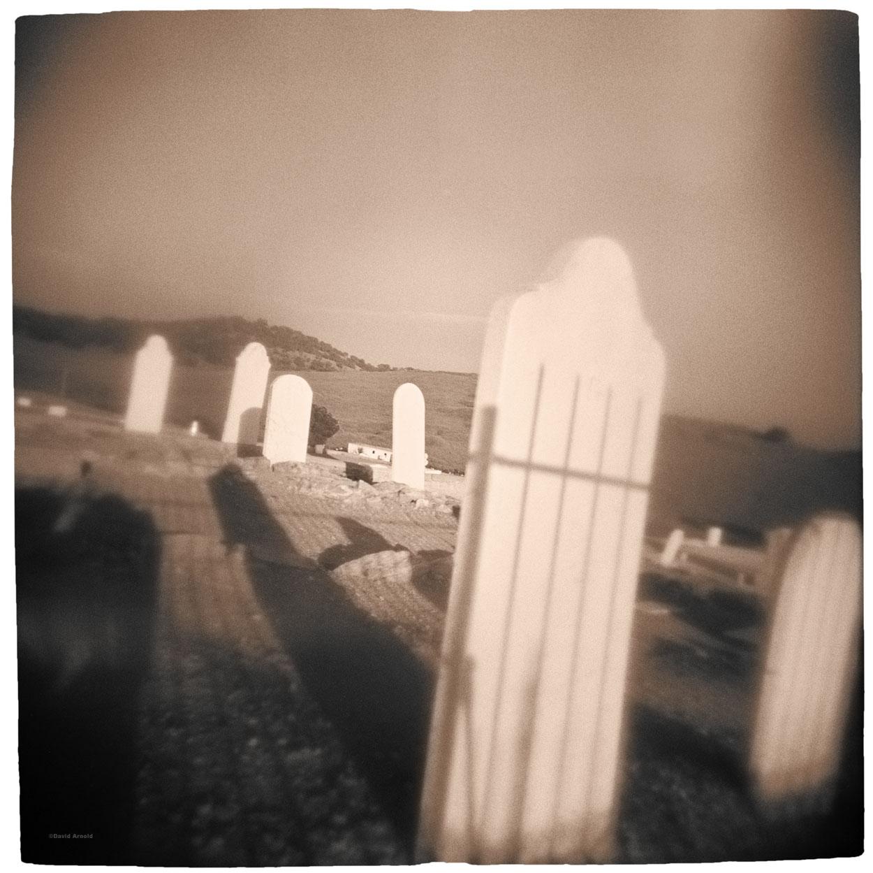 Shadow, Headstones (2), Hornitos Cemetery, Hornitos, Maricopa County, California.